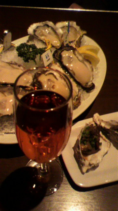 牡蠣と赤ワイン♪